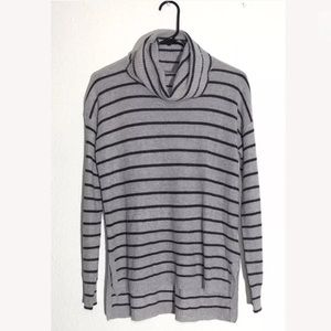 Madewell Ribbed Striped Turtleneck Black Gray